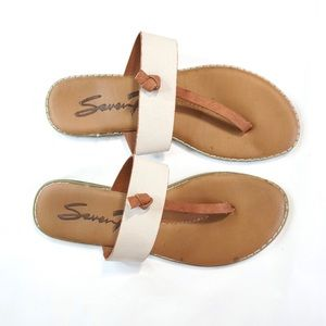 Seven7 women's sandals white and brown size 10